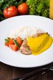 Kurczaka curry z białymi ryż i warzywami Fotografia Stock