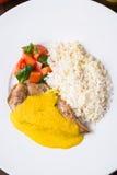 Kurczaka curry z białymi ryż i warzywami w talerzu na ciemnym drewnianym tle Zdjęcie Royalty Free