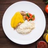 Kurczaka curry z białymi ryż i warzywami w talerzu na ciemnym drewnianym tle Obraz Stock
