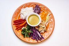 Kurczaka curry z ryż i warzywami na czerwień talerzu zdjęcia royalty free