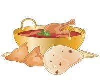 Kurczaka curry z samosas i naan chlebem Fotografia Stock