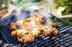 Kurczaka grilla dymienie Zdjęcia Royalty Free