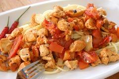 kurczaka mięsa talerza spaghetti pomidor Zdjęcia Stock