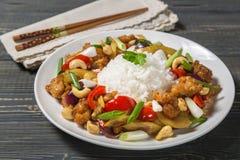 kurczaka nerkodrzewu orzechy Krajowy naczynie Tajlandzka kuchnia Zdjęcia Royalty Free