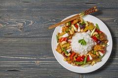 kurczaka nerkodrzewu orzechy Krajowy naczynie Tajlandzka kuchnia Obrazy Royalty Free