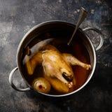 Kurczaka rosół z całym kurczakiem i warzywami Obrazy Stock