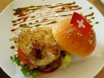 Kurczaka sera hamburger Obrazy Royalty Free