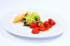 Kurczaka skewer z warzywami i ziele Zdjęcia Stock