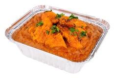 Kurczaka Tikka Masala curry W Foliowym Bierze Oddaloną tacę Obraz Stock