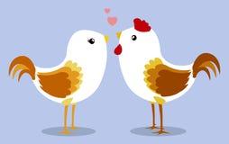 Kurczaki w miłości na bławym tle Zdjęcie Royalty Free