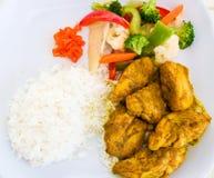kurczaki zdobyte curry ryżu Fotografia Royalty Free