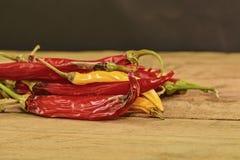 Kurczyć się i lejni chili pieprze na drewnianym tle Przegnili chili pieprze Zakończenie Zdjęcia Royalty Free