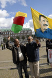 KURDER ARRANGERADE PROTES SAMLAR AAINST-TURKPRESIDENT Royaltyfri Bild
