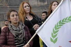 KURDER ARRANGERADE PROTES SAMLAR AAINST-TURKPRESIDENT Royaltyfria Bilder