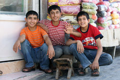 Kurdish boys in Urfa in Turkey. Royalty Free Stock Photography