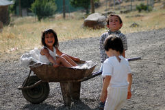 Kurdish children playing in the village Stock Photo