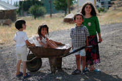 Kurdish children playing in the village Royalty Free Stock Image