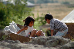 Kurdish children playing in the village Stock Photos