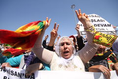 Kurdish demonstration Royalty Free Stock Image