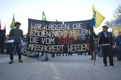 Kurdish demonstration in solidarity Kobane in Vienna Royalty Free Stock Image