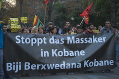 Kurdish demonstration in solidarity Kobane in Vienna Stock Photo