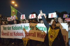 Kurdish demonstration in solidarity Kobane in Vienna Stock Images