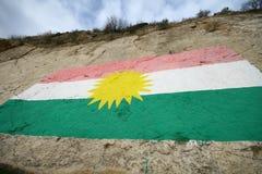 kurdish flagga arkivbilder