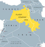 Kurdish-inhabited area political map. Kurdish lands, also Kurdistan. Cultural region wherein Kurdish people form a prominent majority. Parts of Turkey, Syria Stock Photo