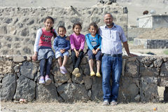 A Kurdish man with his four children at Dogubayazit in Turkey. Royalty Free Stock Photos