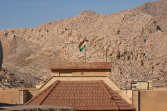 Kurdistan Flag On A Building. In North of Iraq with a mountain in the background Stock Photography