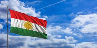 Kurdistan flag waves under the blue sky with many white clouds. 3d illustration. Kurdistan flag waves proudly under a blue sky with many white clouds. 3d Royalty Free Stock Image