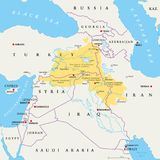 Kurdistan region political map. Kurdish inhabited areas in the middle east. Northern, Western, Eastern and Southern Kurdistan in Turkey, Syria, Iraq and Iran Royalty Free Stock Image