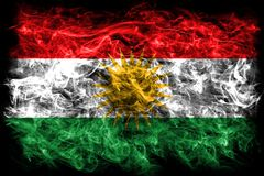 Kurdistan smoke flag, Iraq dependent territory flag Royalty Free Stock Image