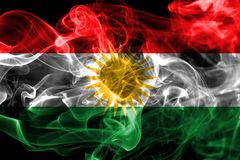 Kurdistan smoke flag, Iraq dependent territory flag. On a black background Stock Photography