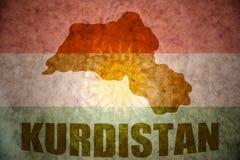 Kurdistan vintage map. Kurdistan map on a vintage Kurdish flag background Royalty Free Stock Photography
