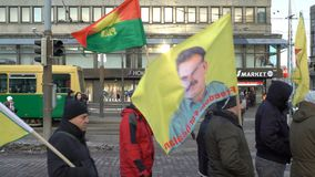 Kurdprotest mot turkisk agression stock video