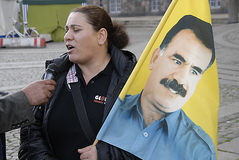 KURDS STAGED PROTES RALLY AAINST TURKISH PRESIDENT Royalty Free Stock Photo
