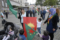 KURDS STAGED PROTES RALLY AAINST TURKISH PRESIDENT Stock Photo