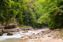 Kurdzhips River is in Guamskoe Gorge, Russia Royalty Free Stock Photo