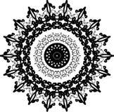 Kurenda łańcuchy i strzał mandala z podbitym okiem na centrum w czarny i biały ilustracji