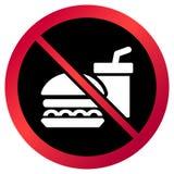 Kurenda, ` Żadny jedzenie pozwolił ` znaka Czerwony gradientu znak, biały napój i hamburger na czerni, ilustracji