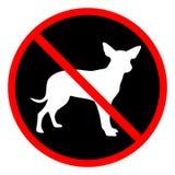 Kurenda, ` Żadny zwierzęta domowe pozwolił ` znaka Rewolucjonistka znak, biel psia mała sylwetka na czerni royalty ilustracja