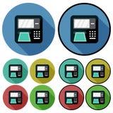 Kurenda, ATM maszyny ikona Ciskać cień Dwa różnicy Pięć kolorów różnic Obraz Stock