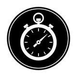 Kurenda biały zegar, stopwatch sylwetki ikona,/ monochromatyczna ikona royalty ilustracja