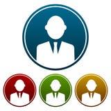 Kurenda, biznesmena avatar ikona Biała sylwetka na gradientu cztery prostych różnicach ilustracji