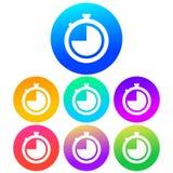 Kurenda, colourful zegar ikony Biała sylwetka na colour gradiencie ilustracji