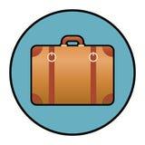 Kurenda gradientowa brown walizka, teczki ikona,/ Odizolowywający na bielu ilustracja wektor