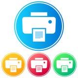 Kurenda, gradientowa drukarki ikona Cztery kolor różnicy Odizolowywający na bielu ilustracji