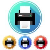 Kurenda, gradientowa drukarki ikona cztery różnice Odizolowywający na bielu ilustracji