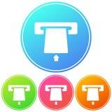 Kurenda, gradientowa wszywki karty sylwetki tutaj biała ikona ATM maszyny ikona Fotografia Royalty Free